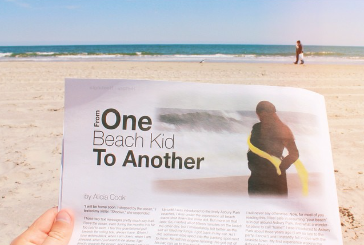 "Alicia Cook's article ""From One Beach Kid To Another"" for The Asbury Insider magazine"